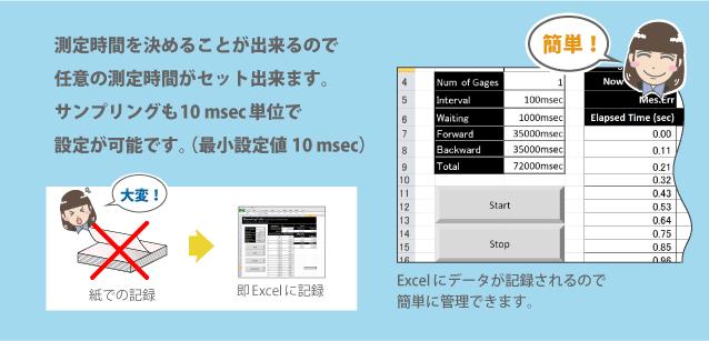 Excelにデータが記録されるので簡単に管理できます
